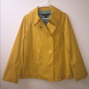 Mustard Yellow Marc Jacobs Coat with Red Stitching